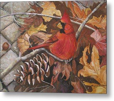 Cardinal Color Metal Print by Cheryl Borchert