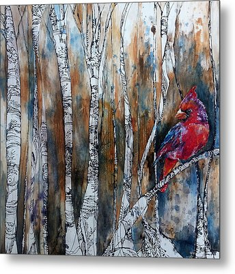 Metal Print featuring the painting Cardinal In Birch Tree Forest by Christy  Freeman