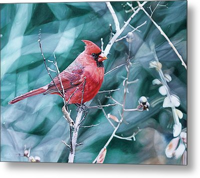 Metal Print featuring the painting Cardinal In Winter by Joshua Martin