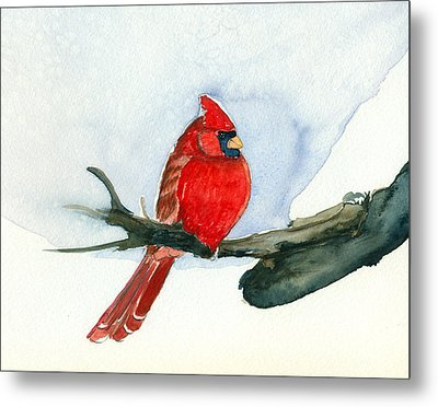 Metal Print featuring the painting Cardinal by Katherine Miller