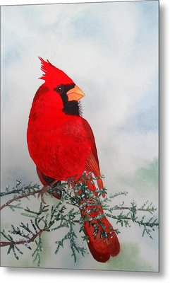 Metal Print featuring the painting Cardinal by Laurel Best