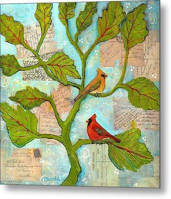Cardinal Love Notes Metal Print by Blenda Studio