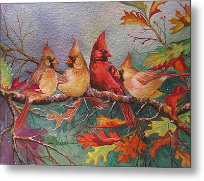 Cardinal Musings Metal Print by Cheryl Borchert