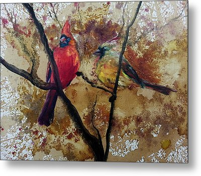 Metal Print featuring the painting Cardinal Redbird Couple by Christy  Freeman