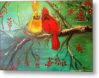 Cardinals Winter Scene Metal Print