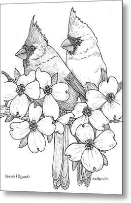 Cardinals And Dogwoods Metal Print
