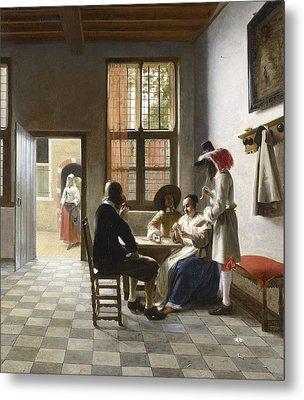 Cardplayers In A Sunlit Room Metal Print by Pieter de Hooch