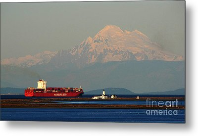 Cargo Passing The New Dungeness Lighthouse On The Spit Metal Print by Ron  Tackett