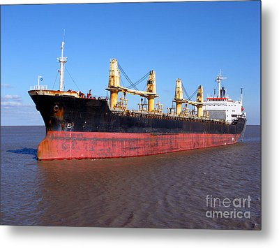 Cargo Ship Metal Print by Olivier Le Queinec