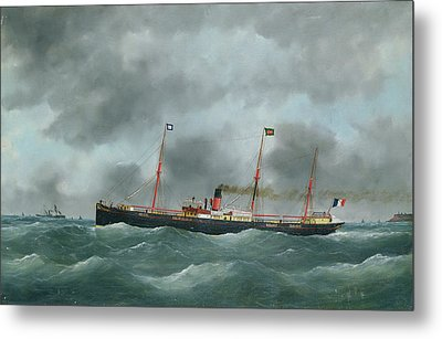Cargo Steamship Flying The Flag Of The Le Havre Peninsular Company  Metal Print