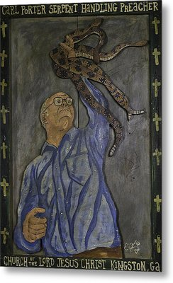 Metal Print featuring the painting Carl Porter - Serpent Handling Preacher by Eric Cunningham