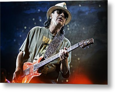 Carlos Santana On Guitar 2 Metal Print by Jennifer Rondinelli Reilly - Fine Art Photography