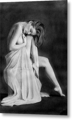 Metal Print featuring the drawing Carly by Joseph Ogle