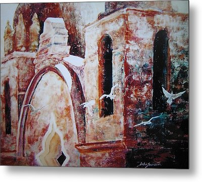 Metal Print featuring the painting Carmel Mission by John  Svenson