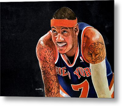 Carmelo Anthony - New York Knicks Metal Print by Michael  Pattison