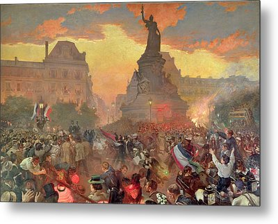 Carnival In Paris In Honour Of The Russian Navy, 5th October 1893, 1900 Oil On Canvas Metal Print by Leon Bakst