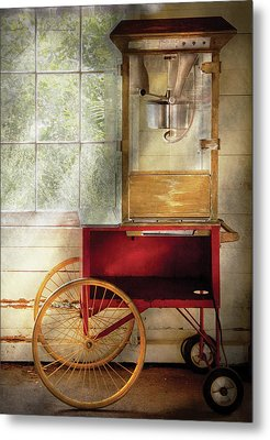 Carnival - The Popcorn Cart Metal Print by Mike Savad