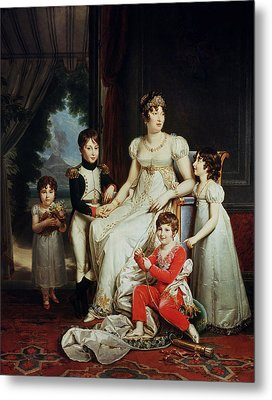 Caroline Bonaparte 1782-1839 And Her Children Oil On Canvas Metal Print by Francois Pascal Simon, Baron Gerard