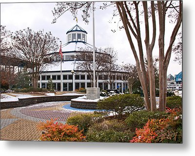 Carousel Building In Snow Metal Print by Tom and Pat Cory