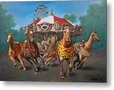 Metal Print featuring the painting Carousel Escape At The Park by Jason Marsh