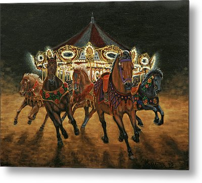 Metal Print featuring the painting Carousel Escape At Night by Jason Marsh