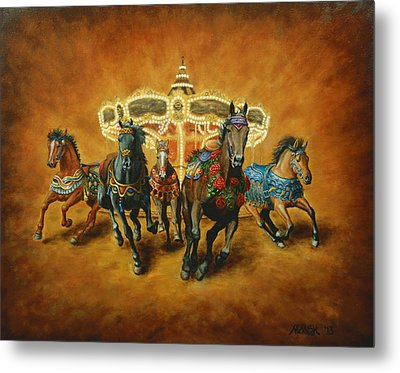 Metal Print featuring the painting Carousel Escape by Jason Marsh