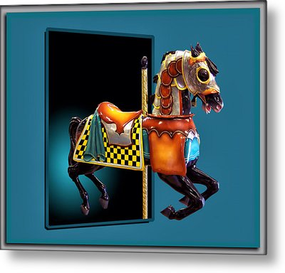 Carousel Horse Left Side Metal Print by Thomas Woolworth