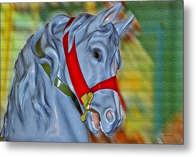 Carousel Horse Red Bridle Metal Print by Thomas Woolworth