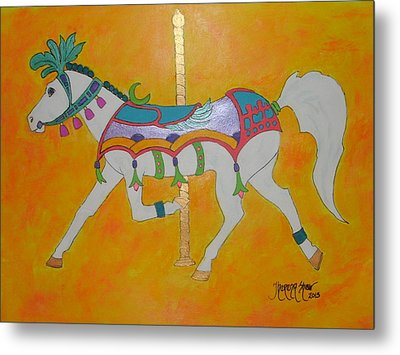 Carousel Horse   Metal Print by Theresa Shaw