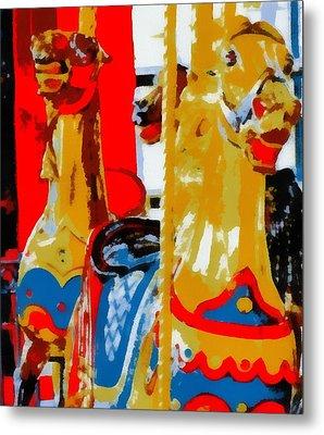 Carousel Horses Pop Art Metal Print
