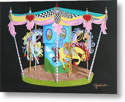Carousel Horses Metal Print by Shelley Overton
