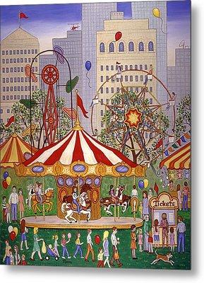 Carousel In City Park Metal Print by Linda Mears