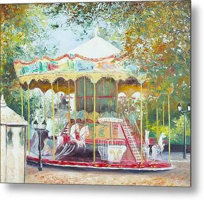 Carousel In Montmartre Paris Metal Print