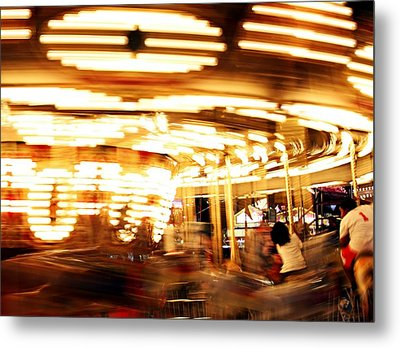 Carousel In Motion Metal Print