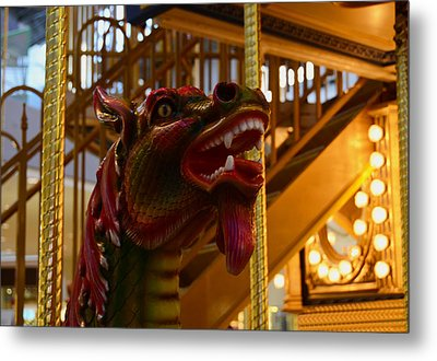 Metal Print featuring the photograph Vintage Carousel Red Dragon - 2 by Renee Anderson