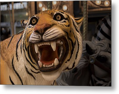Metal Print featuring the photograph Vintage Carousel Tiger - 1 by Renee Anderson
