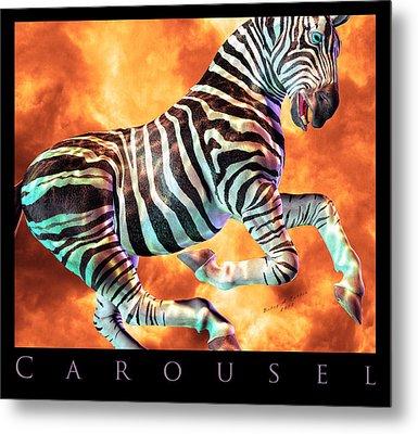 Carousel Zebra Metal Print by Betsy Knapp