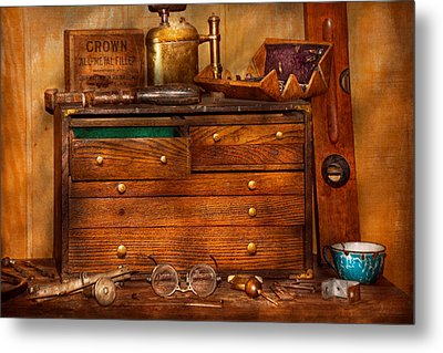 Carpentry - Tools - In My Younger Days  Metal Print by Mike Savad