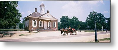 Carriage Moving On A Road, Colonial Metal Print by Panoramic Images