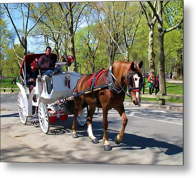 Carriage Ride In Central Park Metal Print by Eleanor Abramson