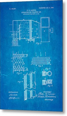 Carrier Air Conditioning Patent Art 1906 Blueprint Metal Print by Ian Monk