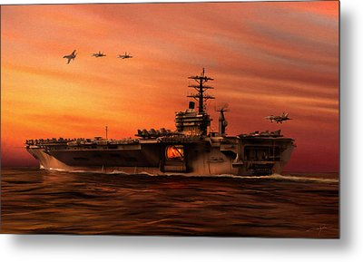 Carrier Ops At Dusk Metal Print by Dale Jackson