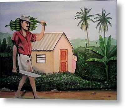Carrying Plantain Metal Print by Ramon Lopez Collazo