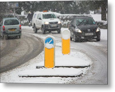 Cars Driving Through Heavy Snow Metal Print