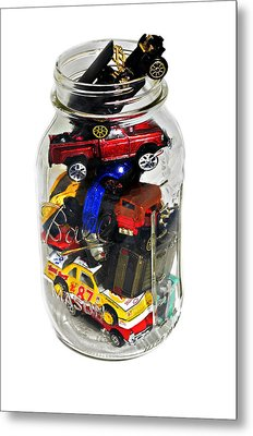 Cars In A Jar Metal Print by Susan Leggett