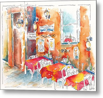 Cartagena Colombia Cafe Metal Print by Pat Katz