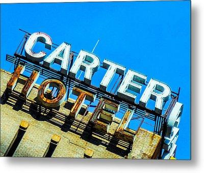 Carter Hotel Sign Metal Print by Jon Woodhams