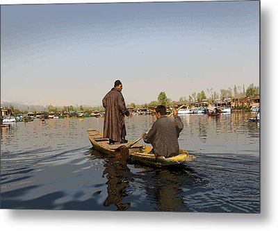 Cartoon - Kashmiri Men Plying A Wooden Boat In The Dal Lake In Srinagar Metal Print