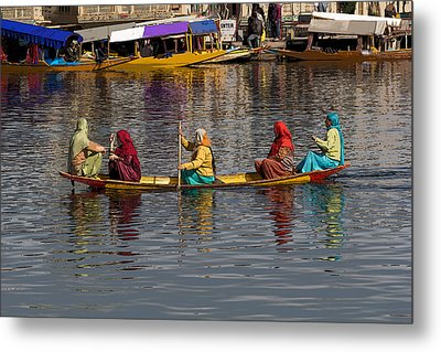 Cartoon - Ladies On A Wooden Boat On The Dal Lake With The Background Of Hoseboats Metal Print by Ashish Agarwal