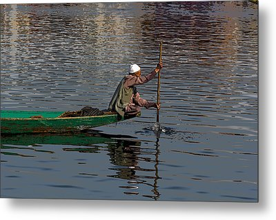 Cartoon - Man Plying A Wooden Boat On The Dal Lake Metal Print